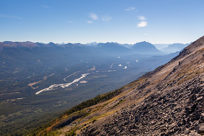 Maligne Range, Icefields Parkway and Athabasca River, from Whistlers Mountain, Jasper National Park, Alberta